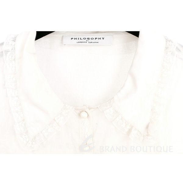 PHILOSOPHY 米白棉料蕾絲襯衫式長袖洋裝裝 1620146-20
