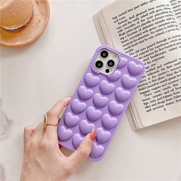 立體紫色氣囊愛心 適用 iPhone12Pro 11 Max Mini Xr X Xs 7 8 plus 蘋果手機殼