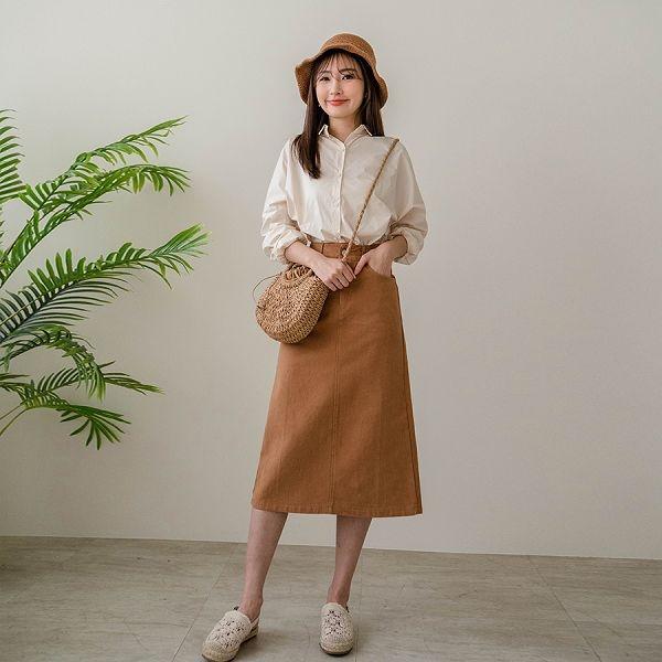 現貨-MIUSTAR 繽紛色素面後開衩斜紋布中長裙(共7色,M-L)【NJ0247】