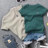 兒童短袖 2019夏季新款兒童螺紋棉貼標短袖T恤男童女童兒童2色半袖體恤衫潮【萬聖夜來臨】