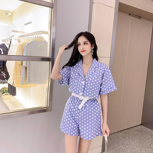 清倉388 韓系時尚休閒圓點寬口連身褲套裝短袖褲裝