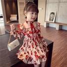 童裝2021新款韓版兒童洋裝連衣裙春夏乖巧甜美風中大童印花雪紡公主裙 快速出貨