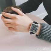 港風手錶男學生韓版簡約潮流復古非機械皮帶休閒防水長方形石英表 茱莉亞