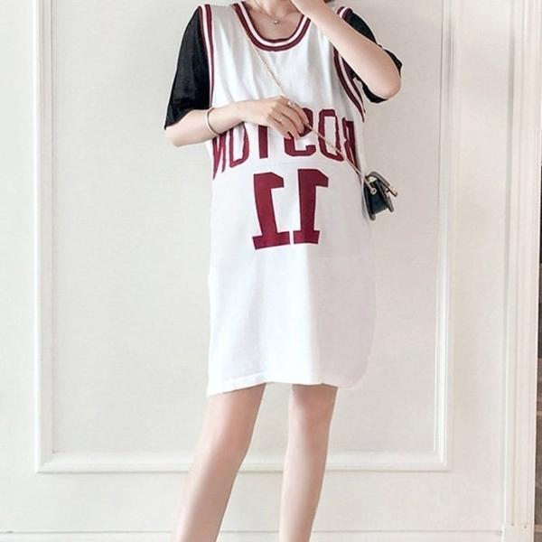 漂亮小媽咪 美式休閒運動風 兩件式洋裝 【DS9663】字母 背心裙 套裝 孕婦裝