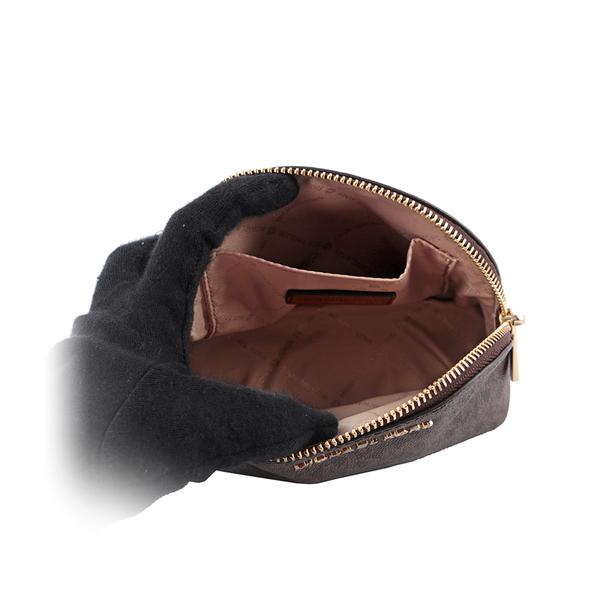 【MICHAEL KORS】PVC LOGO金字化妝包(咖啡) 35H8GTVU3B BROWN