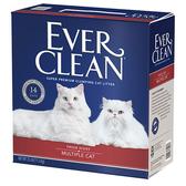 《缺貨》【寵物王國】【免運費】EVER CLEAN藍鑽-【紅標】低過敏抗菌結塊貓砂25磅(11.3kg)