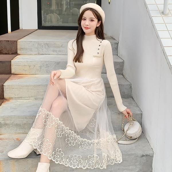 第二件4折 韓系半高領針織毛衣裙拼接網紗蕾絲長袖洋裝