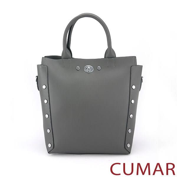 【CUMAR女包】個性造型鉚釘手提/斜背包-黑
