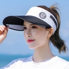 鴨舌帽 遮陽帽女夏季防曬防紫外線大沿空頂帽子戶外騎車遮臉太陽帽棒球帽寶貝計畫 上新
