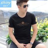 【Y043】shiny藍格子-輕鬆玩色.夏季純棉韓版皇冠字母圓領短袖T恤