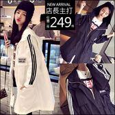 克妹Ke-Mei【AT47351】歐美妞個性BF風 徽章三槓腰抽繩長大衣外套