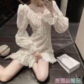 蕾絲洋裝秋冬季egg裙法式時尚氣質初戀白色蕾絲a字很仙連身裙女裝 春季上新