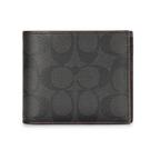 COACH大C紋PVC皮革多卡短夾(附可拆式證件夾)(黑灰色)196174