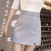 短裙 A字裙 2020夏季新款韓版時尚高腰A字裙短裙女不對稱單排扣開叉半身裙子