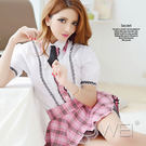 情趣用品 女性商品 甜美粉紅格子公主袖學生服(短襯衫+格子短裙+領帶) 角色扮演服