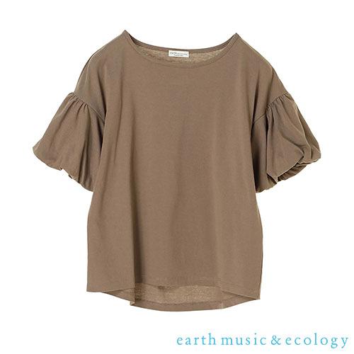 「Hot item」圓領氣球袖素面上衣 - earth music&ecology