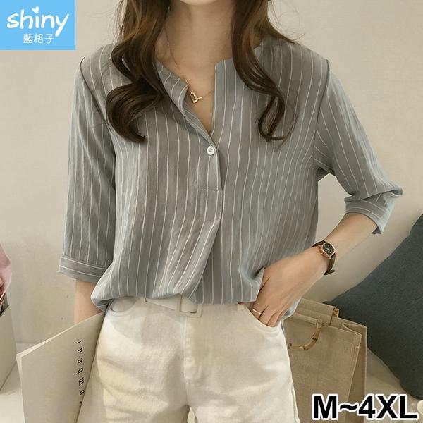 【V2588】shiny藍格子-清清微風.V領條紋五分袖上衣