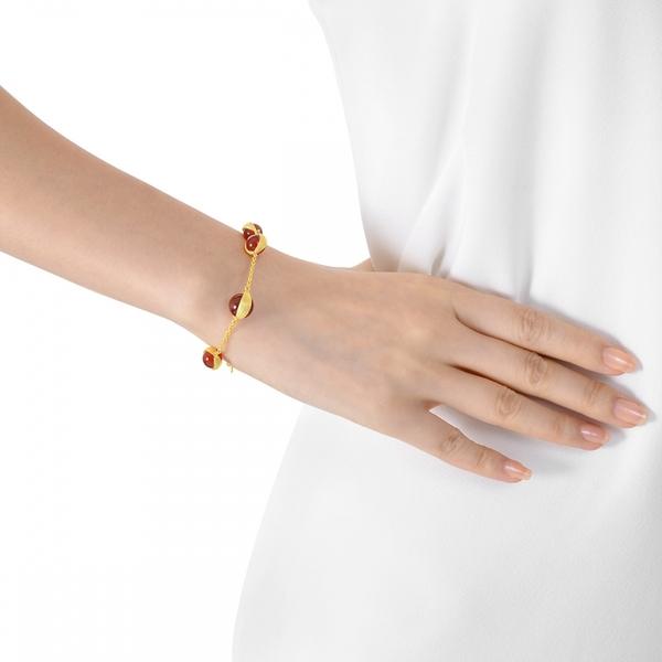 點睛品 g*collection系列 圓形紅瑪瑙黃金手鍊