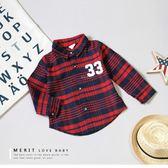 美式街頭數字英文紅藍格紋襯衫 長袖 上衣 格子 格紋 紳士 學院風 氣質 男童 哎北比童裝