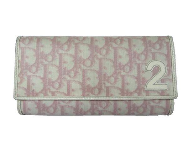 Dior 粉紅色PVC防潑水材質釦式長夾 【BRAND OFF】