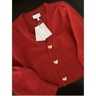 長袖毛衣 女上衣春秋v領短款露腰紅色開衫外套女針織衫 交換禮物