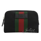 茱麗葉精品【全新現貨】GUCCI 630919 綠紅綠織帶帆布皮飾邊三用腰包.黑