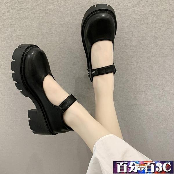 牛津鞋 粗跟單鞋 圓頭瑪麗珍鞋女2021夏新款復古英倫風厚底百搭學生小皮鞋 百分百