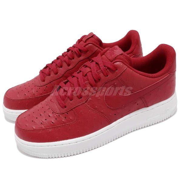Nike Air Force 1 07 LV8 紅 白 皮革鞋面 運動鞋 休閒鞋 男鞋【PUMP306】 718152-603