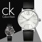 CK手錶專賣店 K7621192 大 中性錶石英  白面 穿孔式皮錶帶 礦物抗磨玻璃鏡面