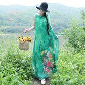 連衣裙女民族風綠色大尺碼背心裙氣質修身印花長裙