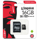 [哈GAME族]免運費 可刷卡●含轉卡●Kingston 金士頓 SDCS 16G 16GB U1 C10 microSDHC記憶卡