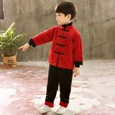 黑紅拼接中國風長袖+長褲 套裝 新年 拜年服 套裝 男童 童裝 過年 大紅 唐裝 新衣 新年