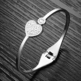 鈦鋼鑲鑽手鍊-守護愛情生日情人節禮物女手環73co8[時尚巴黎]