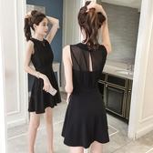 黑色網紗假兩件吊帶洋裝夏新款小個子收腰a字裙赫本小黑裙 糖糖女屋
