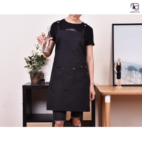 圍裙帆布圍裙廣告奶茶咖啡店花藝烘焙正韓時尚男女工作服 快速出貨