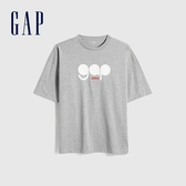 Gap男裝 Logo創意印花圓領短袖T恤 655200-淺灰色