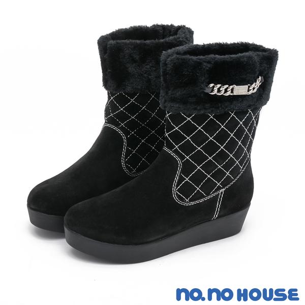 短靴 嚴選質感麂皮菱格紋厚底中筒靴(黑) * nonohouse【18-8360bk】【現貨】