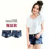 丹寧短褲 NEWLOVER 【111-4159】韓版丹寧雜誌款變體雙釦牛仔短褲S-XL