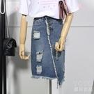 牛仔裙-破洞牛仔半身裙女夏裝大碼胖mm寬鬆學生百搭包臀 快速出貨