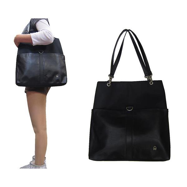 【南紡購物中心】~雪黛屋~Aquam 托特包大容量可A4夾主袋內三隔層+外袋共六層防水水晶布