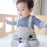 嬰兒秋裝套裝男春秋運動背帶褲三件套潮 居享優品
