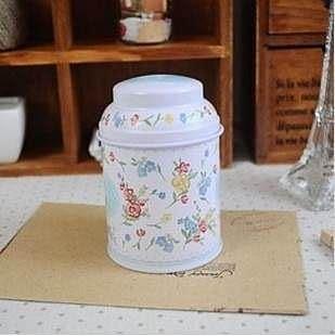 【發現。好貨】韓國雜貨 zakka雜貨 氣質碎花茶葉罐 圓形馬口鐵 婚禮小物 糖果罐 收納罐