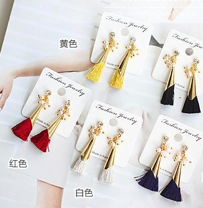 韓版  唯美百搭珍珠水晶流蘇耳環-黃色/白色/酒紅/黑色。100元。【BeautyBox】L1512S1010