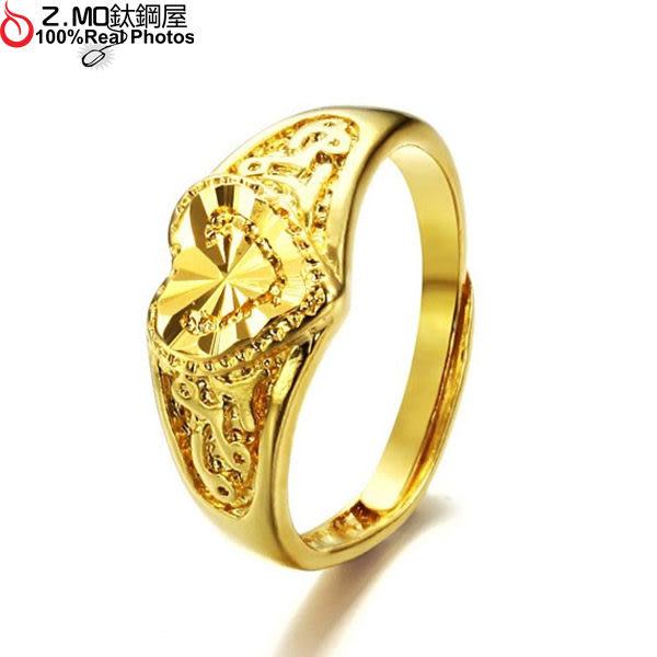 [Z-MO鈦鋼屋]立體心型鍍金戒指/訂婚戒指/華麗金飾/愛的誓約/可調式戒圍/單只價【BKG001】
