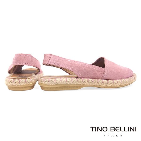 Tino Bellini 西班牙進口全真皮魚口悠活麻編平底涼鞋 _ 粉 B83218A 歐洲進口款