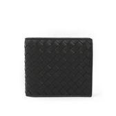 【BOTTEGA VENETA】牛皮編織零錢袋對開短夾(黑色)193642 V4651 1000