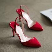 【新年鉅惠】 新款韓版后空白色尖頭高跟鞋夏天裸色細跟單鞋中跟包頭涼鞋女紅色