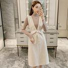VK精品服飾 韓系高領上衣V領毛寬鬆連身裙套裝長袖裙裝
