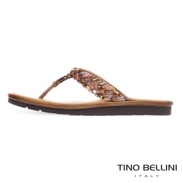 Tino Bellini 義大利進口典雅麻花飾釦夾腳拖鞋 _古銅棕 A63067  2016SS 歐洲進口款