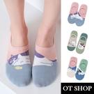 OT SHOP [現貨] 襪子 隱形襪 淺口襪 女款 棉質 AB款 日系可愛卡通圖案 貓咪系列 止滑矽膠 文青 M1114